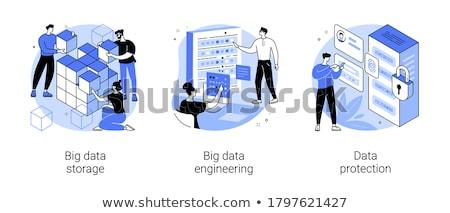 Grande memorizzazione dei dati protezione vettore metafore computer Foto d'archivio © RAStudio