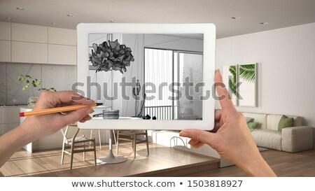 Hands Framing Custom Kitchen Design Drawing Details Stock photo © feverpitch