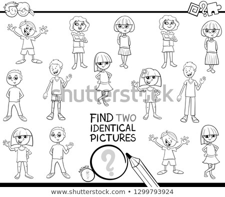 find two same pupils kids characters color book page Stock photo © izakowski
