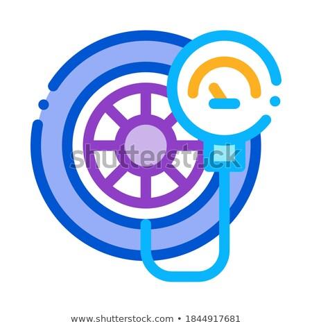 Сток-фото: Tire Inflation Icon Vector Outline Illustration