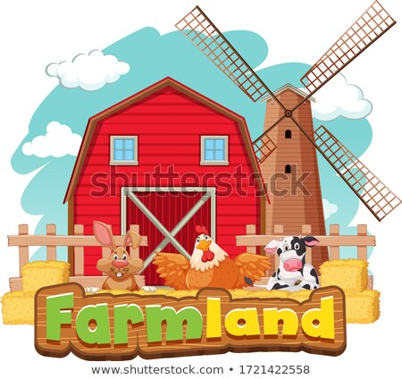 Sign template for farmland with barn and many animals Stock photo © bluering