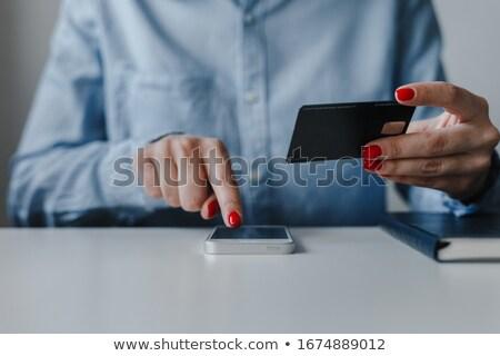 Smartphone creditcard klikken salaris online winkelen schets Stockfoto © yupiramos