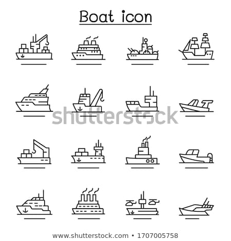 Fishing concept - line design style icons set Stock photo © Decorwithme