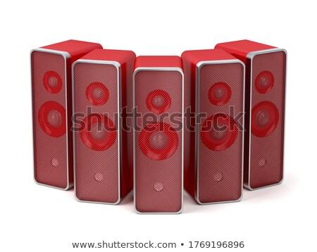 группа пять красный ораторов белый звук Сток-фото © magraphics
