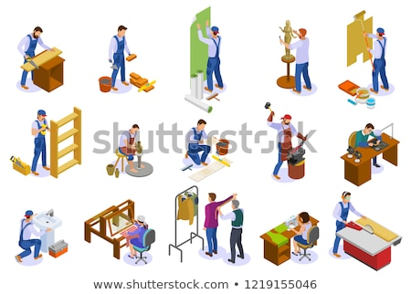 Tiler Work Equipment Isometric Icons Set Vector Stock photo © pikepicture