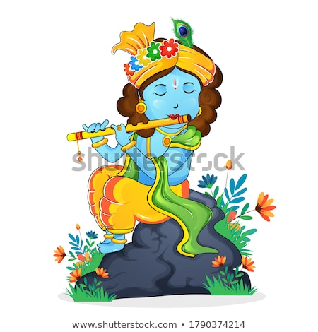 happy krishna janmashtami festival banner with peacock feather Stock photo © SArts
