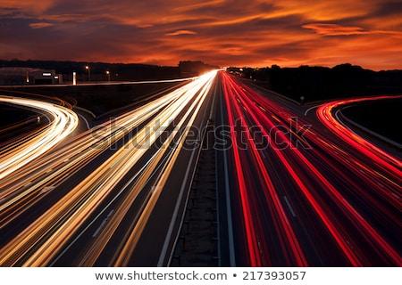 bulanık · ışıklar · karayolu · gece · ışık · trafik - stok fotoğraf © KonArt