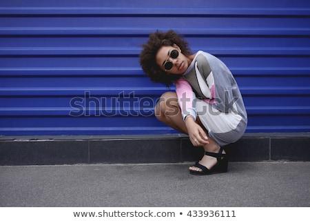 afro-amerikaanse · vrouw · make-up · mooie · oog · partij - stockfoto © darrinhenry