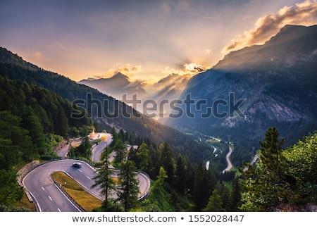 Alpesi út tájkép ösvény fényes kék ég Stock fotó © Antonio-S