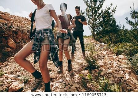 Grupo caminando abajo ladera cielo flor Foto stock © photography33