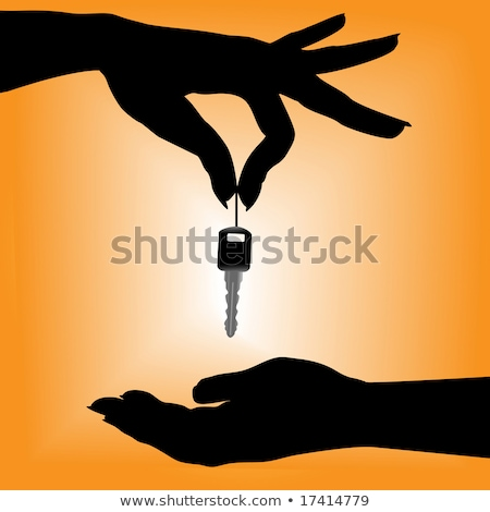 Set of silhouette female hand hold metal key Stock photo © Hermione