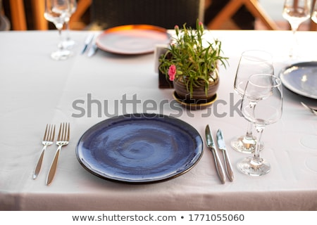 Open-air table setting for meals with elegant dishware Stock photo © 3523studio