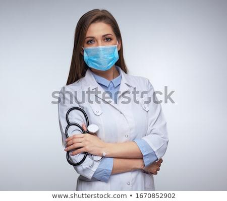 Foto stock: Morena · enfermeira · máscara · mulher · trabalhar