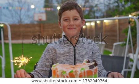 Jovem retrato luz de velas aniversário desejo vela Foto stock © sbonk