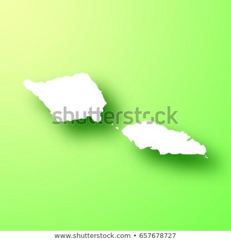 Szamoa · szigetek · térkép · zöld · papír · öreg - stock fotó © speedfighter