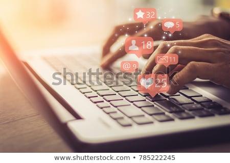 mãos · tocar · ícone · mulher · futurista - foto stock © vlad_star