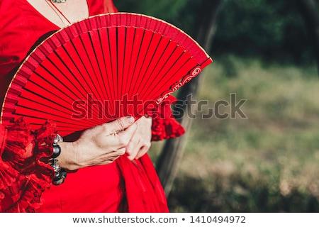 Kadın flamenko dansçı kırmızı elbise açmak fan Stok fotoğraf © photography33