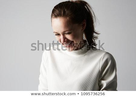 bastante · de · moda · femenino · moderna · vestido · posando - foto stock © victoria_andreas