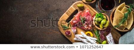 копченый · мяса · вино · изолированный · белый · фон - Сток-фото © jonnysek