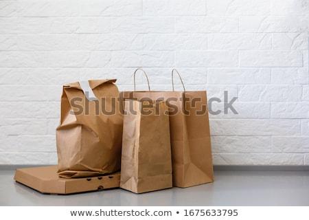Patates kızartması ambalaj kâğıdı çanta beyaz gıda arka plan Stok fotoğraf © przemekklos