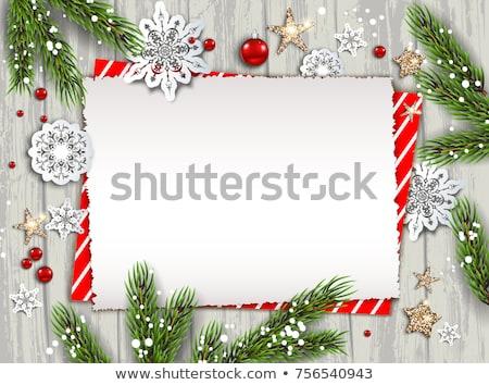 karácsony · keret · szalag · konzerv · használt · névtábla - stock fotó © mintymilk