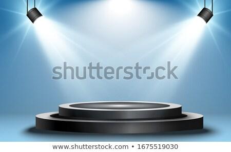 üres · megvilágított · színpad · gitár · fény · mikrofon - stock fotó © aetb