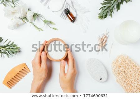 Donna ciotola sale marino capelli lunghi legno Foto d'archivio © chesterf