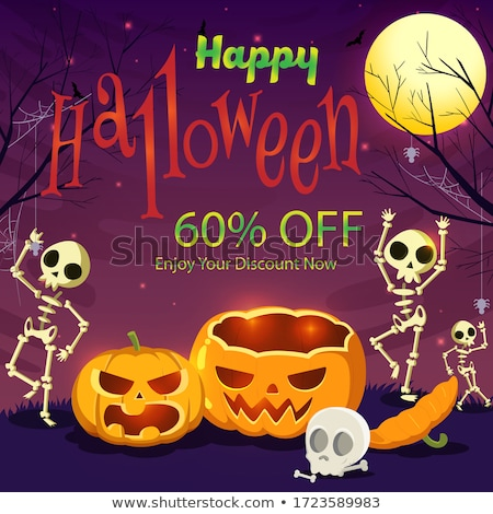 Trick or Treat Halloween card cemetery, vector illustration Stock photo © carodi