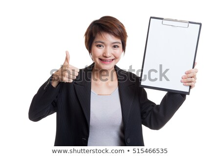 casual woman with clipboard and thumb up stock photo © feedough