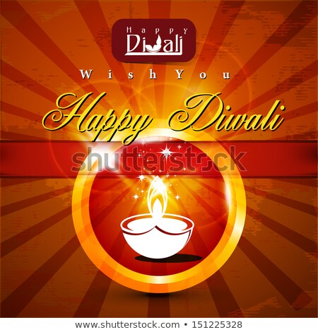 beautiful dewali diya card colorful design illustration stock photo © bharat