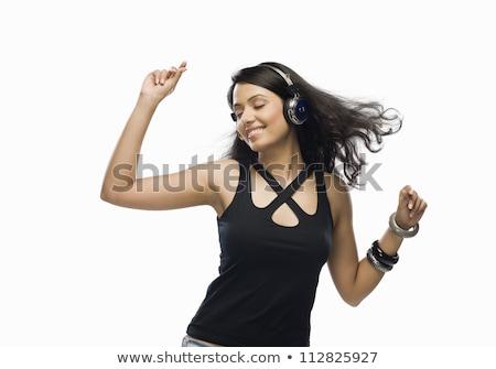 Mulher preto e branco ouvir música tenso luz Foto stock © Rob_Stark