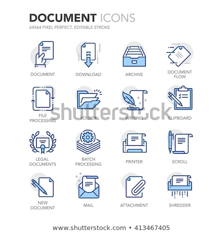 Printer Icon on Blue Arrow. Stock photo © tashatuvango