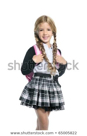 Mały blond uczennica plecak worek portret Zdjęcia stock © lunamarina