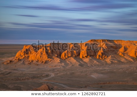Stok fotoğraf: Yanan · Moğolistan · gün · batımı · manzara · çöl