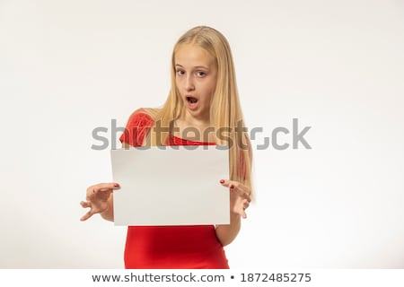 gorgeous blond girl with big red heart stock photo © fouroaks