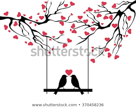 love birds with red hearts vector stock photo © beaubelle