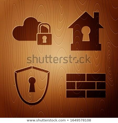 Ev sigortası kahverengi tuğla duvar sıva ev Stok fotoğraf © tashatuvango