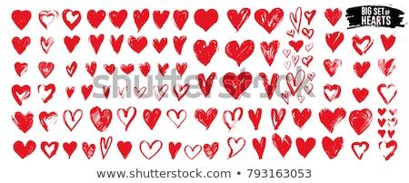 grunge hearts vector set stock photo © burakowski
