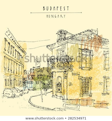 Stock photo: Budapest cityscape hand drawing postcard