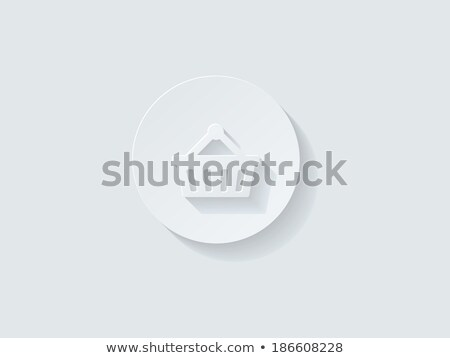 floating shopping cart icon with long shadow stock photo © graphit