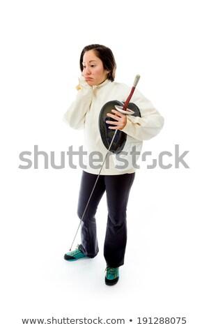 Female fencer looking sad Stock photo © bmonteny