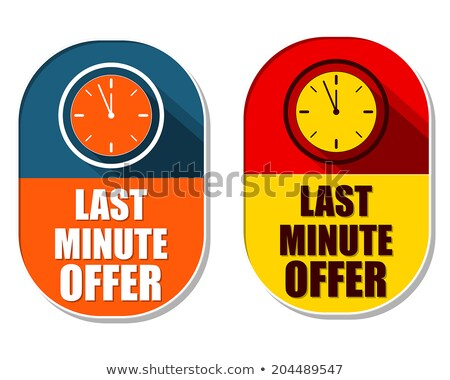 last minute offer with clock signs, two elliptical labels Stock photo © marinini