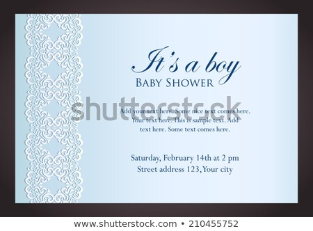 Baby shower invitation for boy with imitation of lace Stock photo © liliwhite
