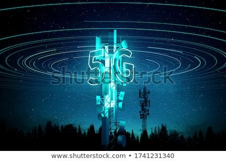 Mobil torony telekommunikáció kék naplemente rádió Stock fotó © FER737NG