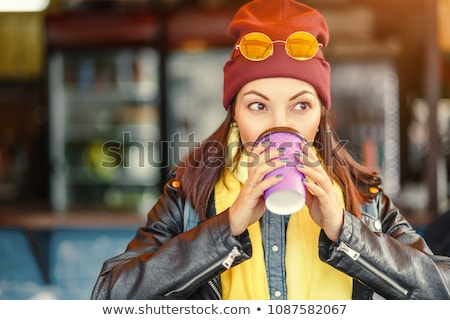 Refreshment. Happy Woman with Cup of Coffee in a Street Cafe Stock photo © gromovataya