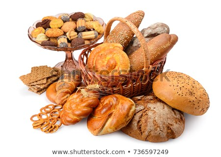 collection of fresh and delicious pastries on a white stock photo © vlad_star