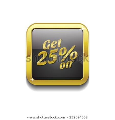 25 por cento ouro vetor ícone botão Foto stock © rizwanali3d