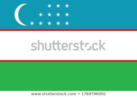 флаг Узбекистан полюс ветер белый Сток-фото © creisinger