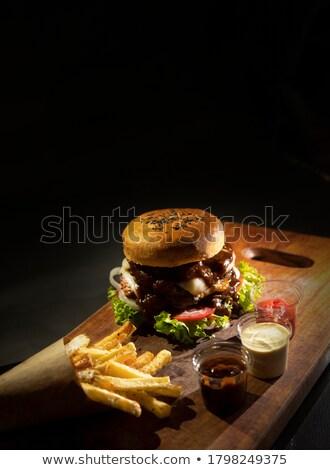 Cips ev yapımı Burger doğal ürünleri ekmek Stok fotoğraf © jarp17