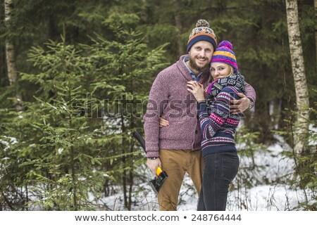 Jonge paar zoeken kerstboom liefhebbers lopen Stockfoto © Kor